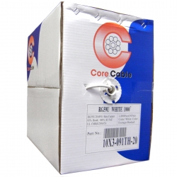 Plenum Bulk RG59 Coaxial Cable White CMP 20 AWG Pullbox 1000 foot