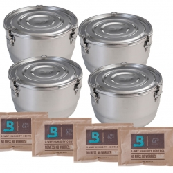 4 Liter CVault Stainless Steel Storage Containers - Airtight Stainless Steel Containers 4 Pack w/Humidity Packs