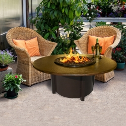 Carmel Round Fire Pit Hammered Copper Top