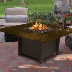 Carmel Square Fire Pit Hammered Copper Top