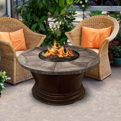 San Simeon Round Fire Pit Gray Travertine Mosaic Top