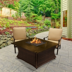 Santa Cruz Square Fire Pit Hammered Copper Top