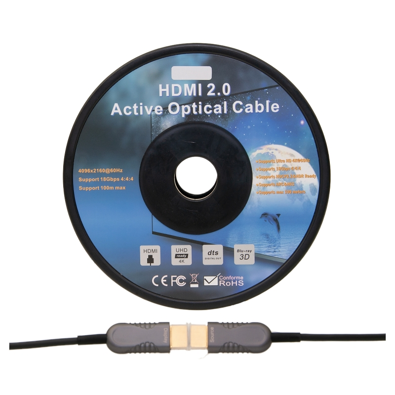4K HDMI Active Optical Cable (AOC) HDMI Male 50 meter (164 foot)