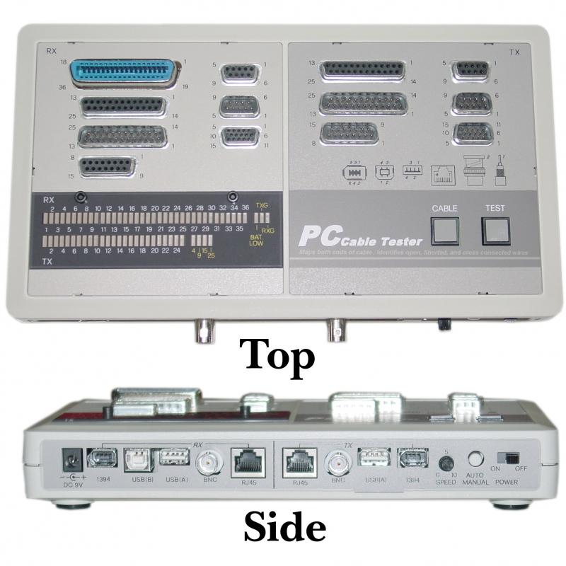 PC Cable Tester Tests: BNC DB15 DB9 DB25 RJ45 USB&IEEE1394