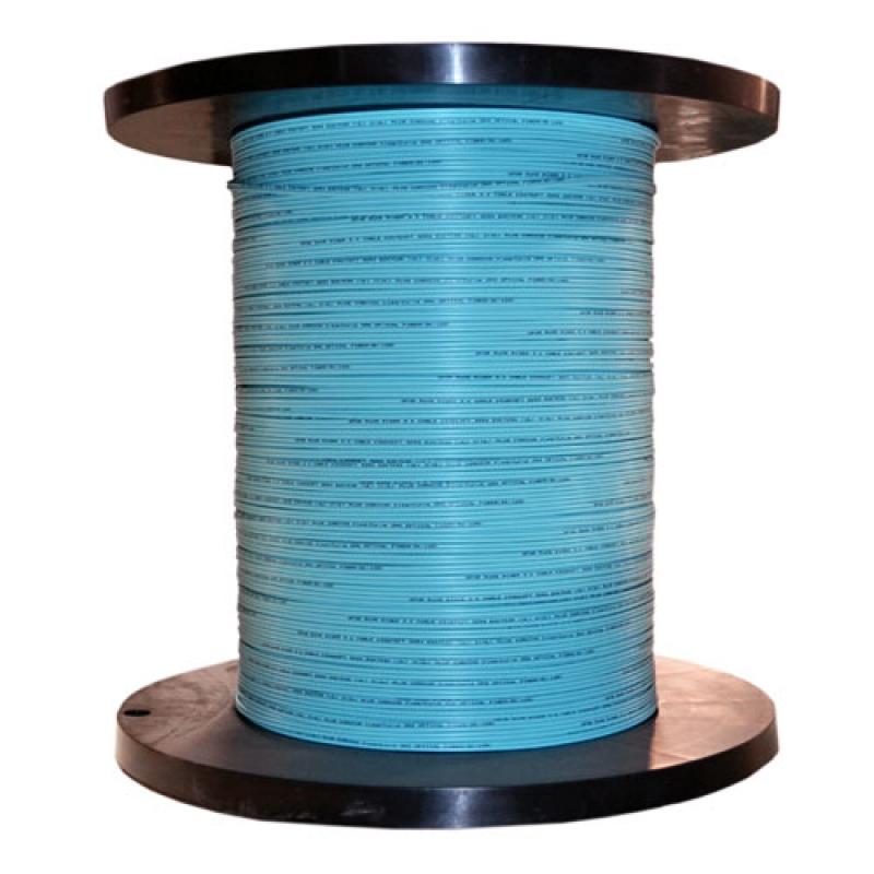 12 Fiber Indoor Distribution Fiber Optic Cable Multimode 50/125 OM3 Plenum Rated Aqua